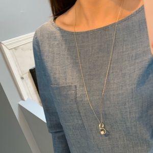 LOFT Long Gold Pearl Necklace